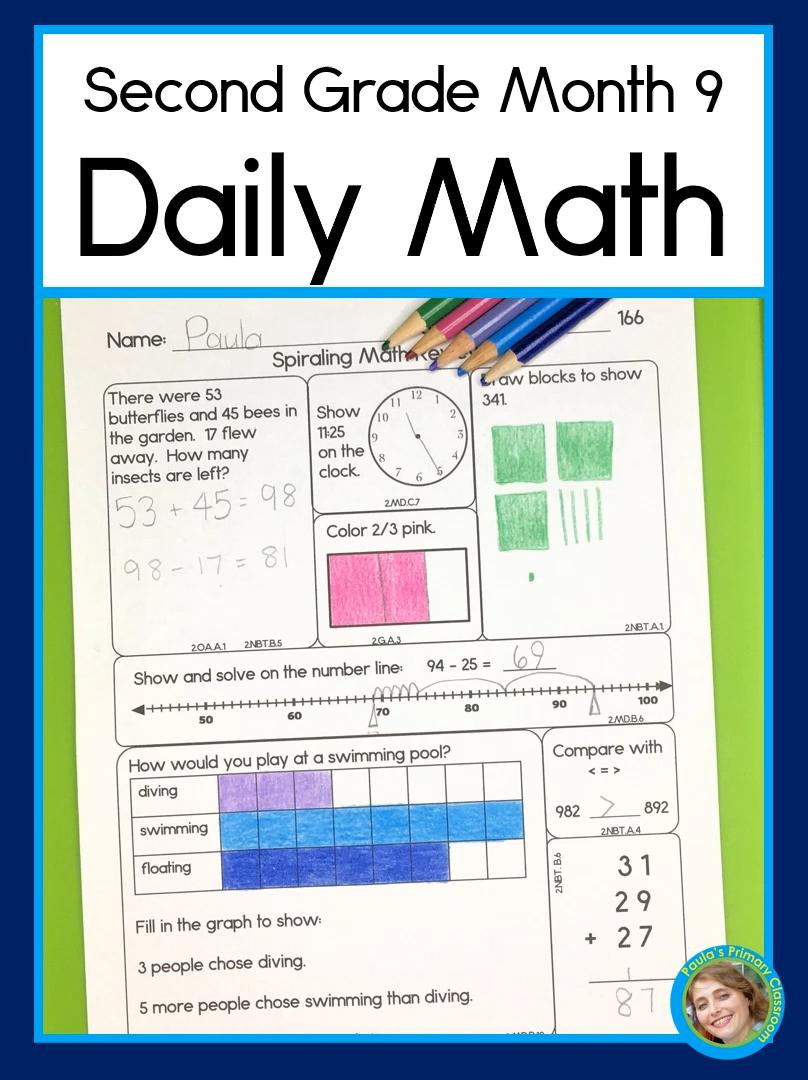Daily Math For Second Grade Month 9 Spiraling Curriculum All 2nd Grade Common Core Math Standards Video Daily Math Second Grade Math Math Resources [ 1080 x 808 Pixel ]