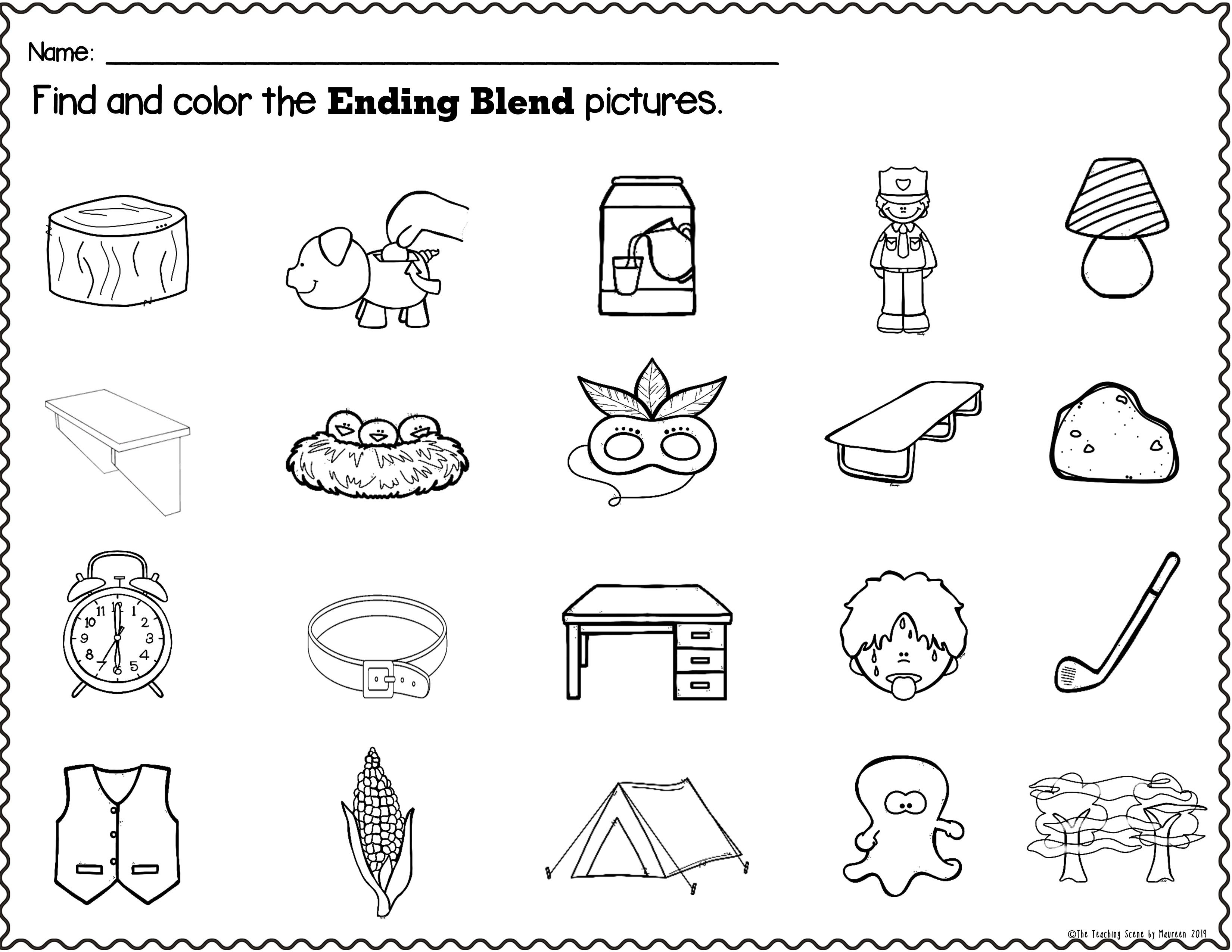 Ending Consonant Blends Packet Letters Pictures Words