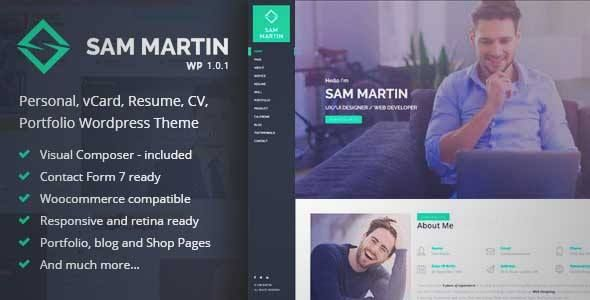 Sam Martin Personal vCard Resume Wordpress Theme DOWNLOAD