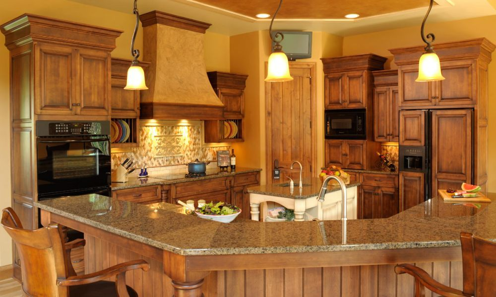 Mullet Cabinet   A Family Friendly Birch Kitchen Featuring A Granite Topped  Sitting Bar