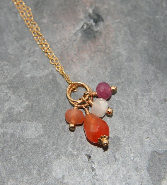 Trio of beautiful gemstone beads - carnelian, moonstone and ruby - on 14k gold fill ring - Add a Charm