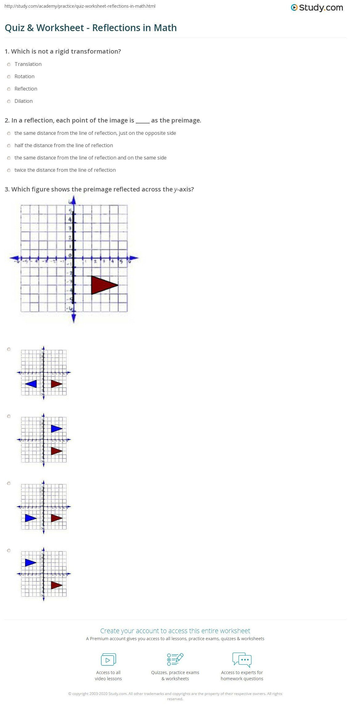 Reflection Math Worksheets Reflection Math Worksheet