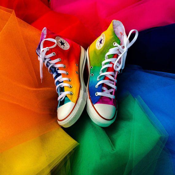 5feb54b6a4fc Rainbow Tie Dye Custom Converse High Top Shoes in 2019