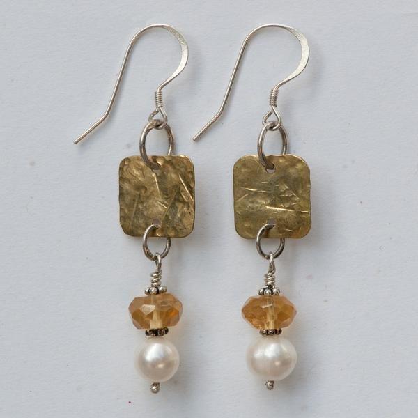 1cb543490c02 Citrine   Pearl Earrings — Soho South Imports Aretes