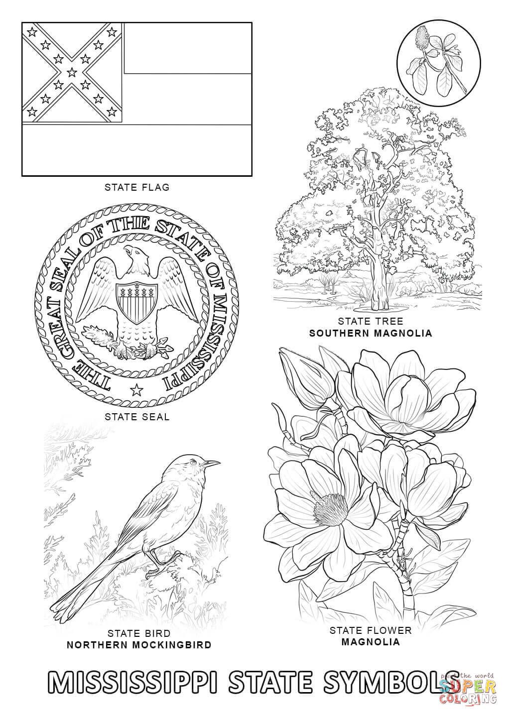 Mississippi State Symbols Coloring Page