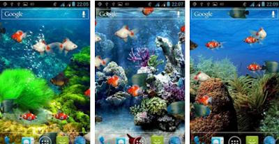 Aquarium live wallpaper with animated fish and air bubbles