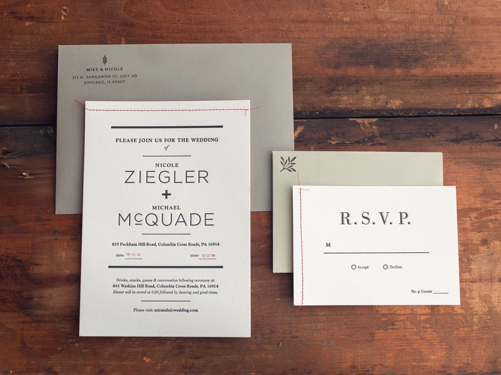 wedding invitation suite by Nicole Ziegler and Mike McQuade - best of wedding invitation design fonts