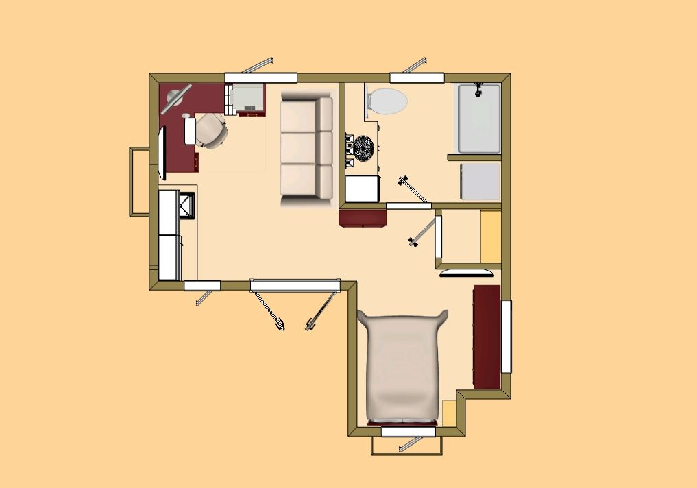 Exceptional studio house plans 9 small studio guest house for Small studio apartment floor plans