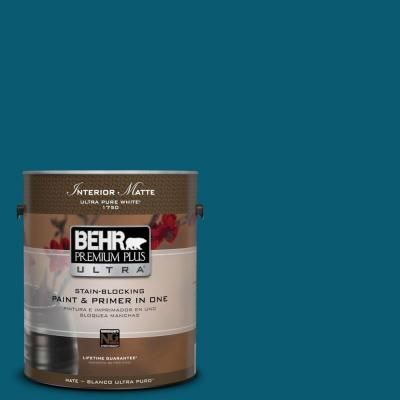 Behr Premium Plus Ultra 1 Gal 540d 7 Deep Blue Sea Flat Matte Interior Paint 175301 The Home Depot Behr Premium Plus Ultra Interior Paint Behr Ultra