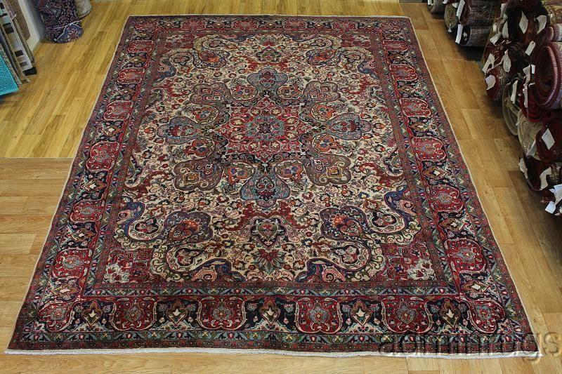 Rare Design Semi Antique Large Kashmar Persian Oriental Area Rug Carpet 10x12