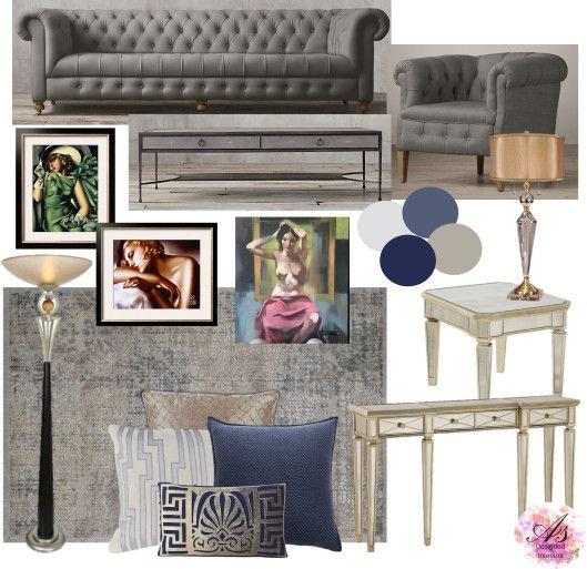 A contemporary Art Deco inspired living room featured art by Tamara de Lempicka