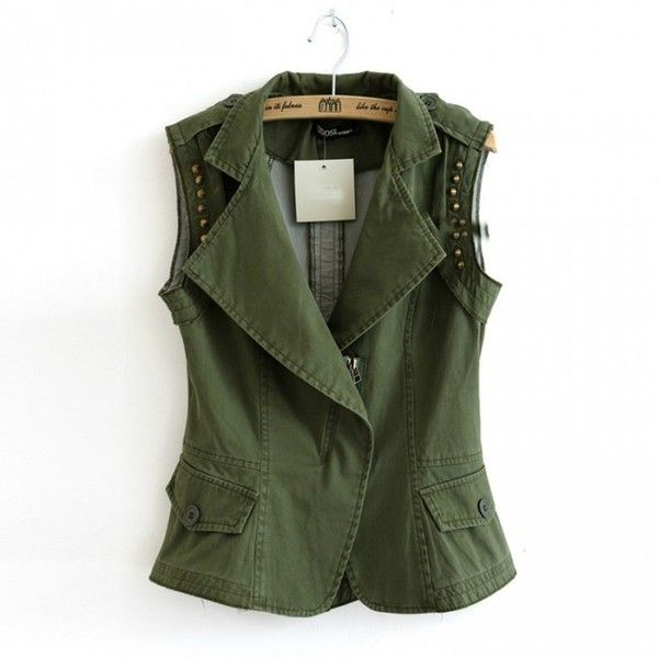 Army green vest rivet crop jacket vest (£33) ❤ liked on Polyvore featuring outerwear, vests, jackets, army green vest rivet crop jacket vest, cropped vests, green waistcoat, vest waistcoat, army green vest and green vest