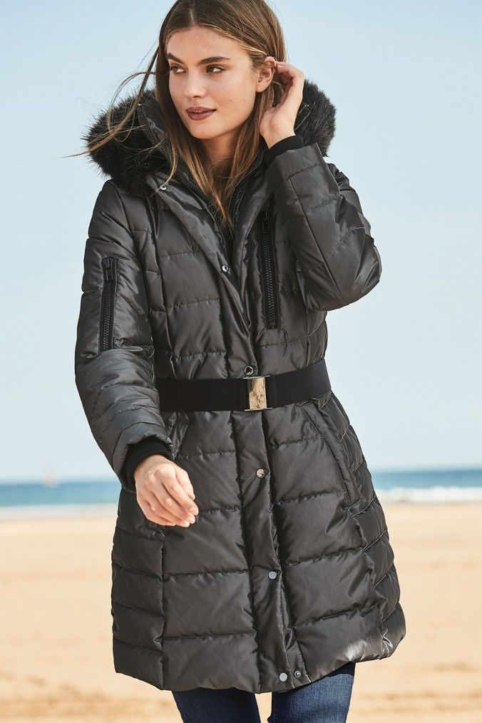 exclusive deals high quality coupon codes Womens Next Charcoal Long Belted Padded Coat - Grey in 2019 ...