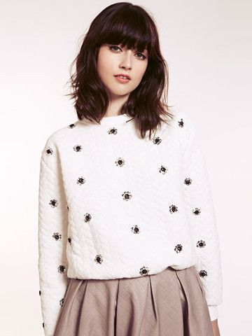 Dahlia Joanne White Quilted Sweatshirt with Flower Embellishment | Dahlia