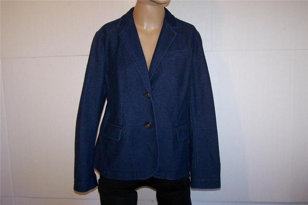 TALBOTS Petite Large Dark Blue Stretch Denim Blazer Jacket Cotton Spandex NWT…