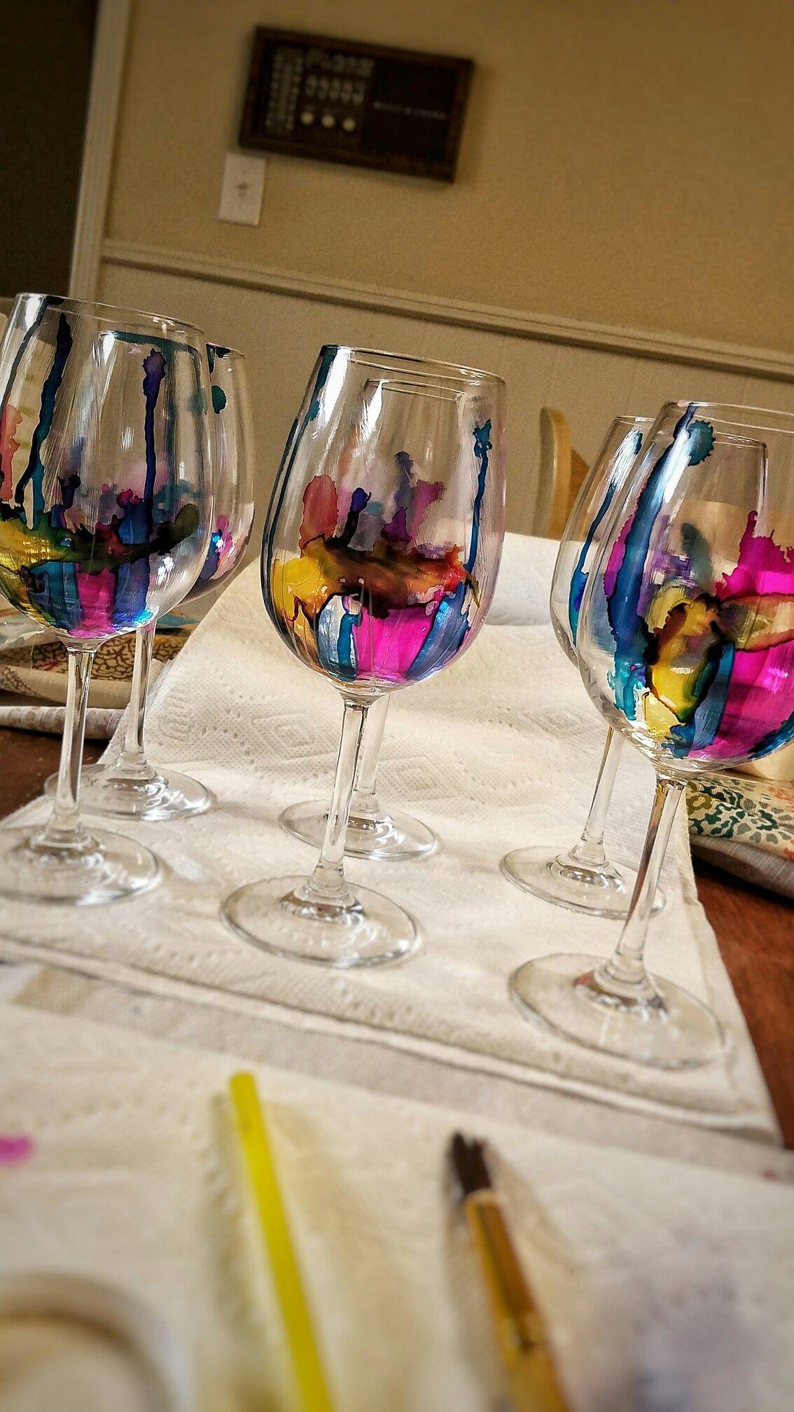 Alcohol ink on wine glasses coated with dishwasher safe