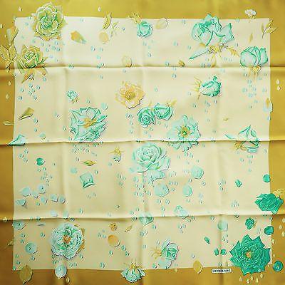 Mint-Yellow-HERMES-La-Rosee-SILK-SCARF-by-Annie-Gavarni-Roses-Flowers-Rose