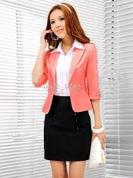 Bright blazer with black skirt