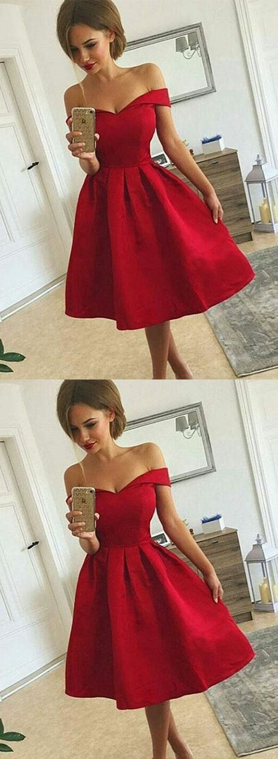 Cute a line off shoulder short prom dressfashion homecoming dress