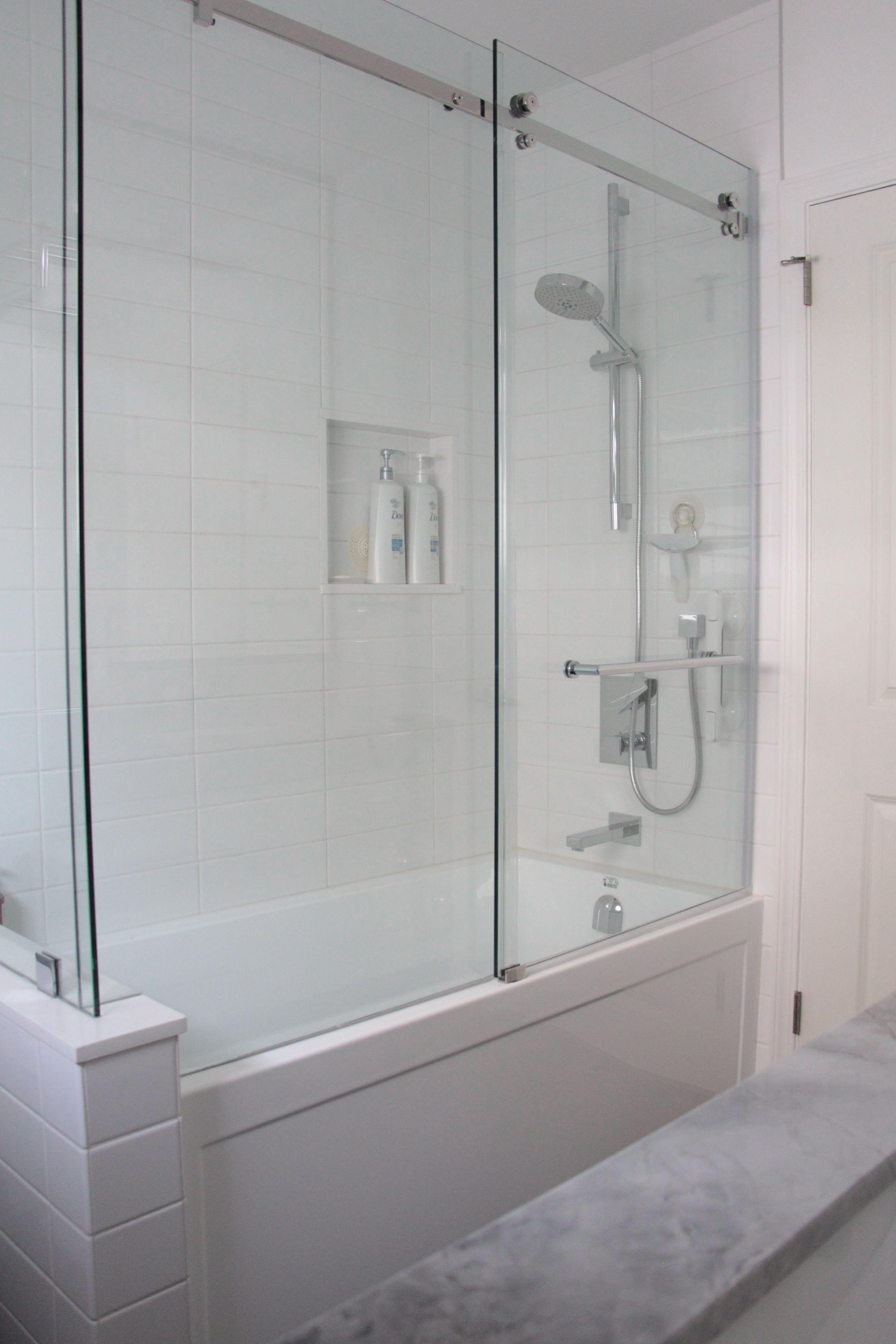 Frameless Glass Shower Pony Wall Sliding Door Bathtub Shower Doors Glass Shower Tub Tub Shower Doors