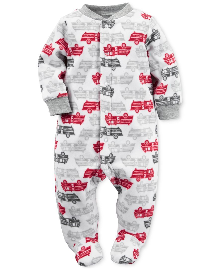 Carter s Baby Boys Firetruck Print Footed Coverall