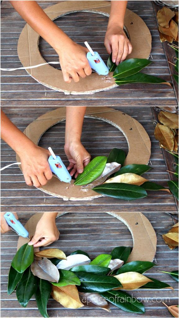 Easy tutorial & video on how to make a FREE beautiful DIY magnolia wreath! Perfect for modern farmhouse, boho, wedding, Thanksgiving, Christmas decorations!  - A Piece of Rainbow  #diy  home decor #homedecorideas #diyhomedecor  #farmhouse #farmhousestyle  colorful farmhouse décor,  Christmas, #christmasdecor  christmas crafts #christmasideas #christmasdecorations #holiday #crafts  #boho #bohostyle #wreath #diywreath #decorations