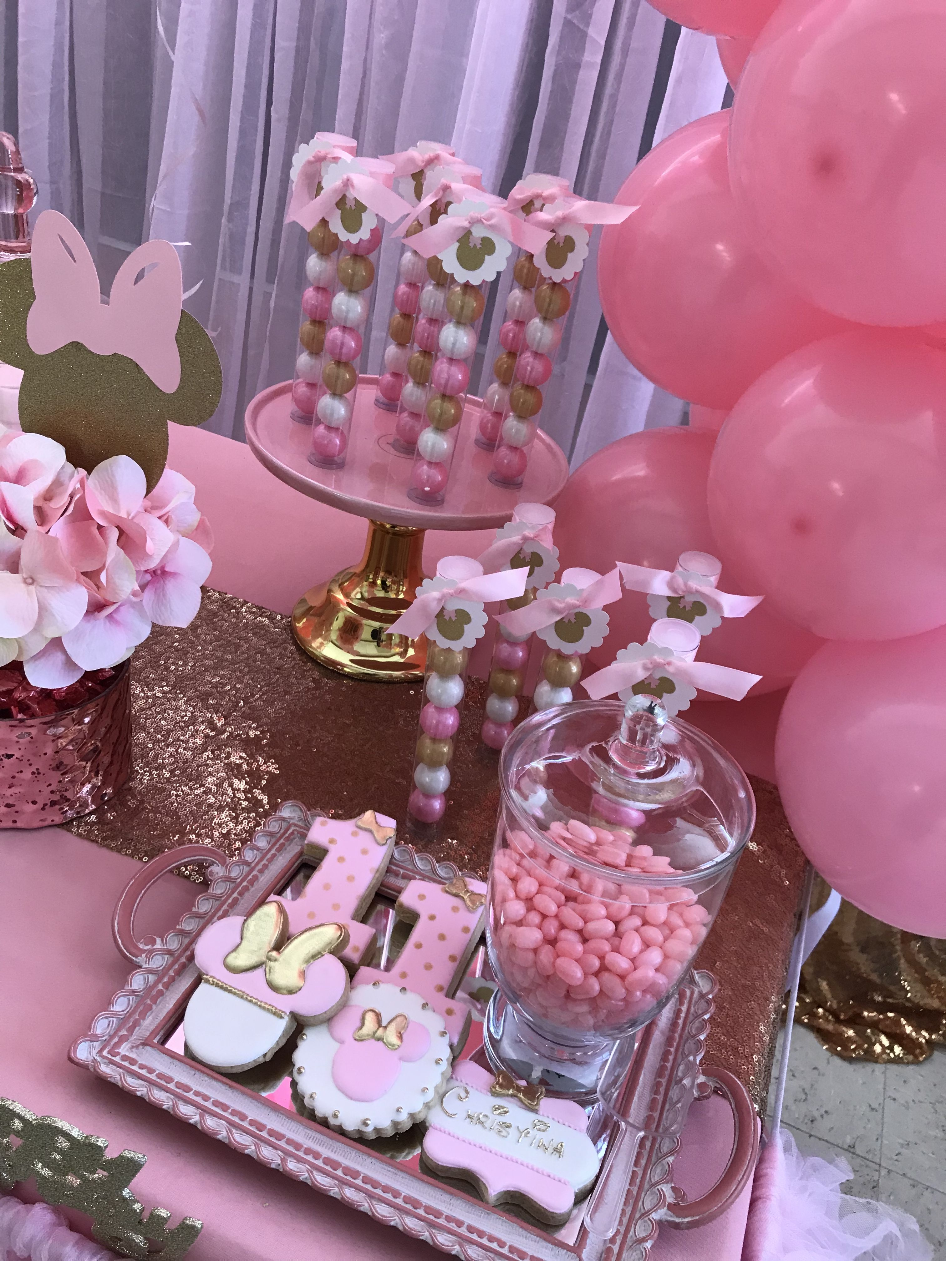 Pink And Gold Minnie Mouse Sweets Table Minnie Mouse Theme Party Minnie Party Minnie Mouse Birthday Party
