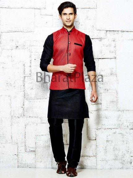 Admirable Kurta With Red Jacket Kurta Pajama With Nehru Jacket