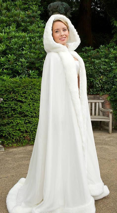 Floor Length White Faux Fur Winter Bridal Cape Wedding Cloaks Hooded Wraps