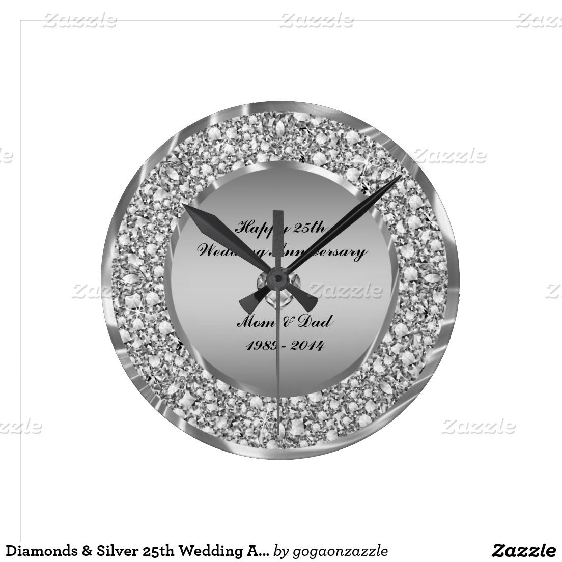 Diamonds Silver 25th Wedding Anniversary Large Clock Zazzle Com 25th Wedding Anniversary Anniversary Clock Wedding Anniversary