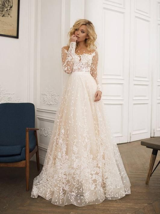 2018 Chic A-line Scoop Long Sleeve Wedding Dress Modest Lace Wedding ... 35c05039af01