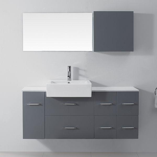 Virtu USA Enya 55 Inch Grey Single Sink White Stone Vanity Set (55 In. Enya  Grey Single Sink Vanity Set), Size Single Vanities