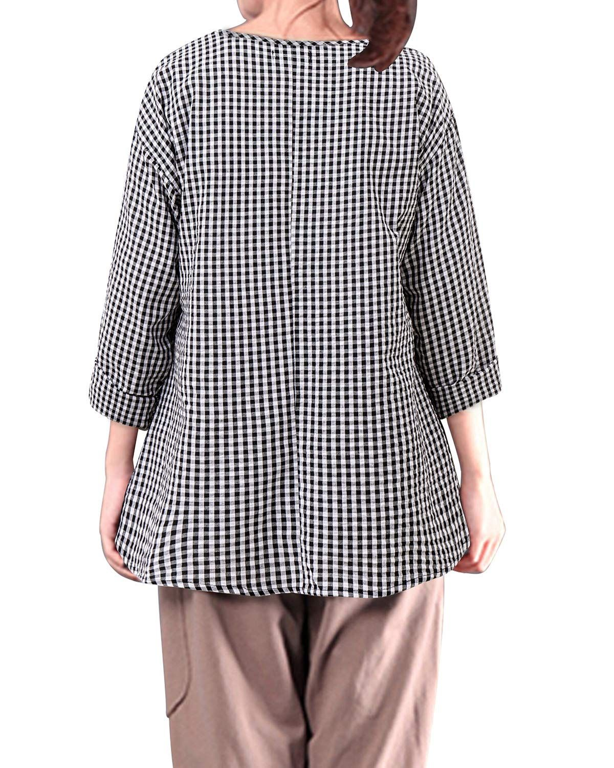 5e64b8329f2 LANISEN Womens Plus Size Long Sleeve Cotton Linen Casual Loose Plaid Blouse  Tops Shirts 5XL BlackWhite *** Click on the image for additional details.