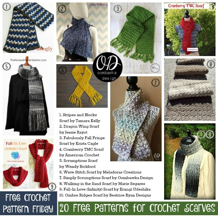 20 Free Patterns for Crochet Scarves | Pinterest | Patrones