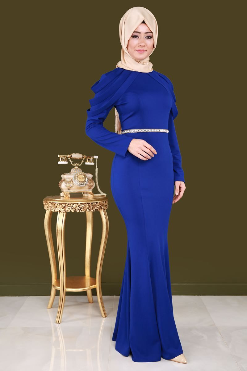 efc5fb1d7179f Omuzları Detay Tesettür Abiye CNG3060 Saks | Women's fashion ...