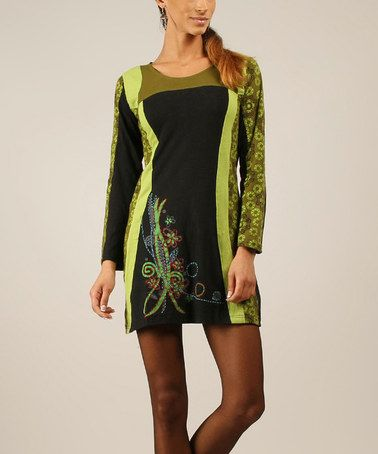 This Black & Green Embroidered Shift Dress by chaitanya is perfect! #zulilyfinds