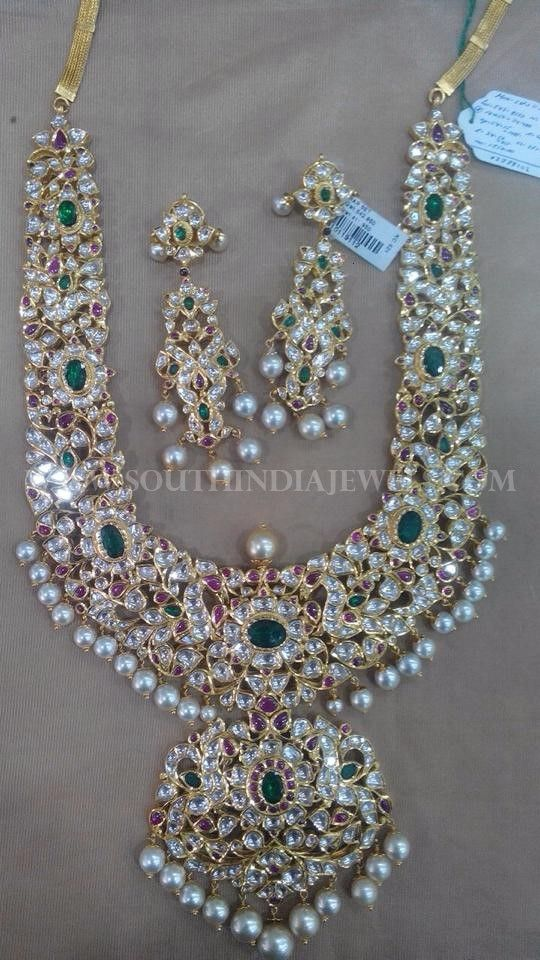 caa7ac36d2463 Gold Kundan Necklace Set From Amaravati | indian wedding decorations ...
