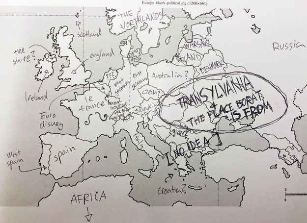 At least we (sort of) know where Borat is from. | Americans Try To Place European Countries On A Map