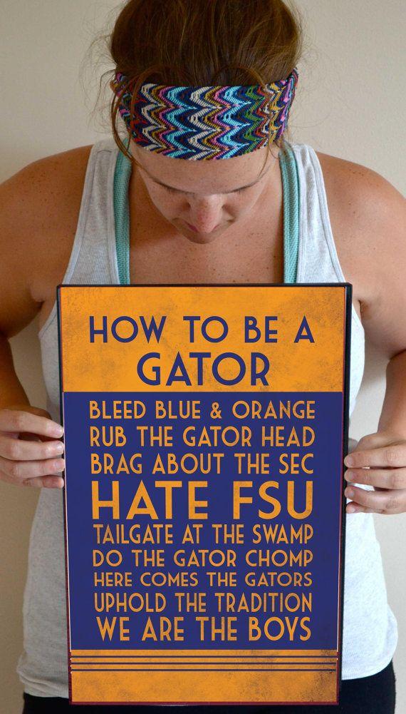 Florida Gators Art Print, Florida Gators Quote Poster Sign, Florida Decor  11 X 17