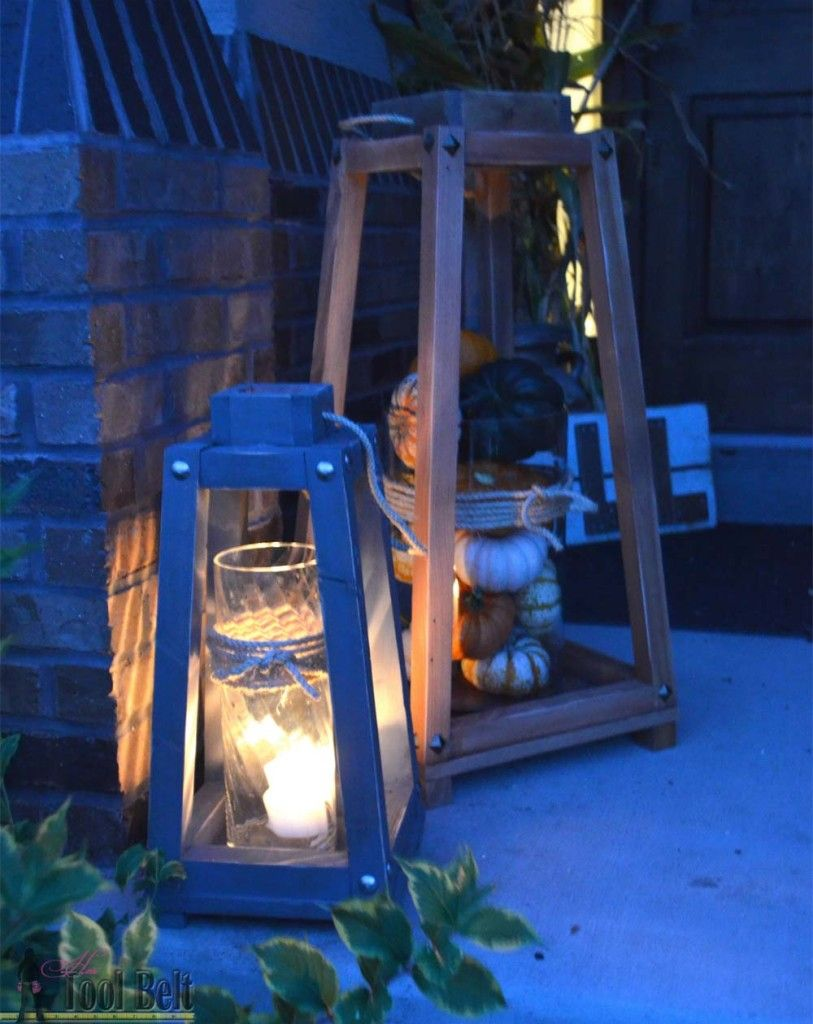 Rustic wood lanterns