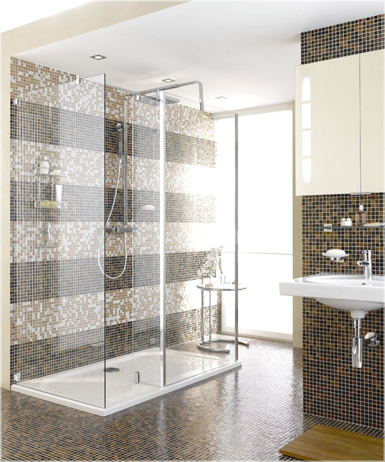 bathroom, : classic bathroom design with glass shower room