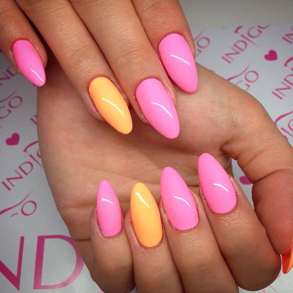 by Natalia Kondraciuk Indigo Young Team, Follow us on Pinterest. Find more inspiration at www.indigo-nails.com #nailart #nails #indigo #pink #orange #almond