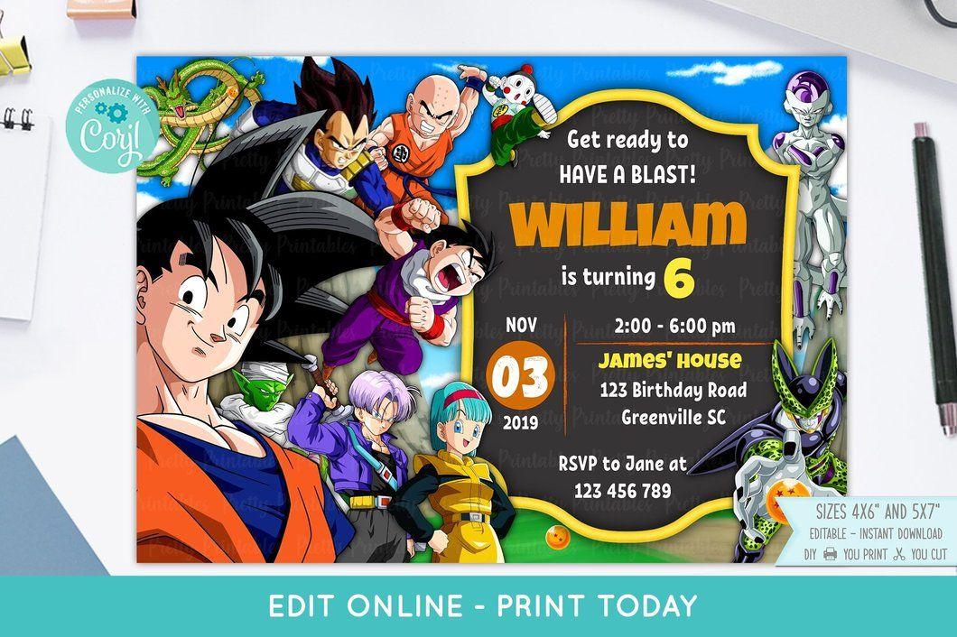 Dragon Ball Z Birthday Invitation Create Birthday Invitations Printable Birthday Invitations Birthday Invitations