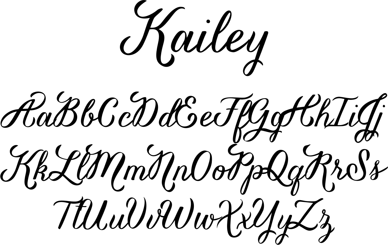 """Kailey font is a hand lettered, voluptuous typeface that is very special to the Great Lakes Lettering team.  This oblique font is inspired by Molly Jacques' """"signature"""" lettering style, using bold brush strokes, fluid flourishes, and distinctive characters.  Kailey has a distinct feminine feel that takes on a bold attitude to match her curves. <br><br> She comes with curvaceous swashes!"""