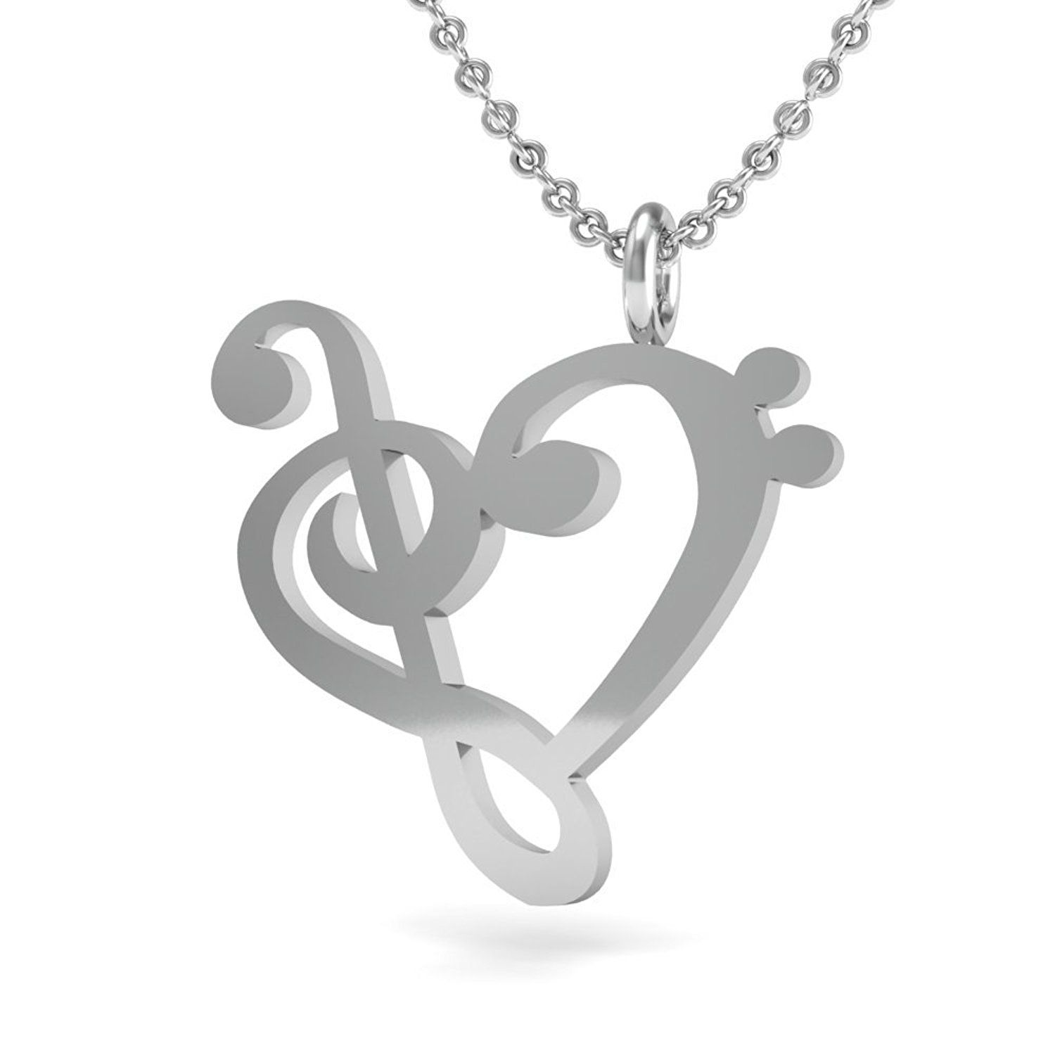 The Best Music Note Pendant Necklace 925 Sterling Silver 18 Inch