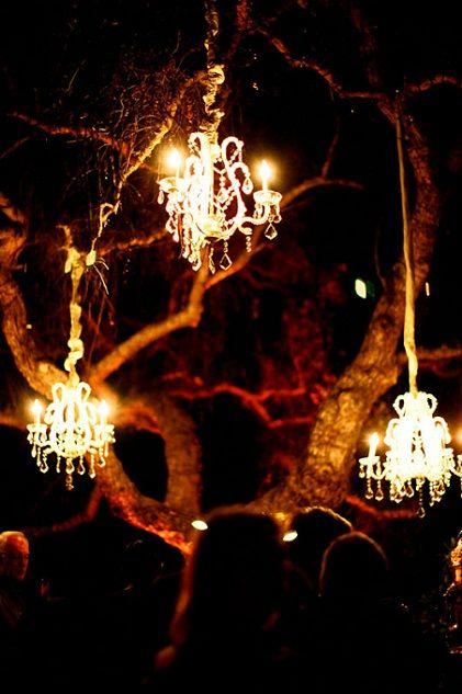 Tree chandeliers looks just as good at night! LOOOOVVEEE!!!!