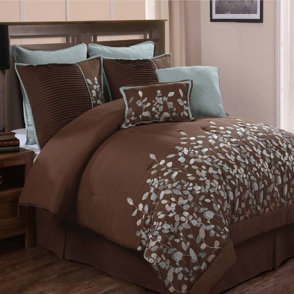 Embroidered Leaves 8 Piece Chocolate Brown Comforter Set Queen