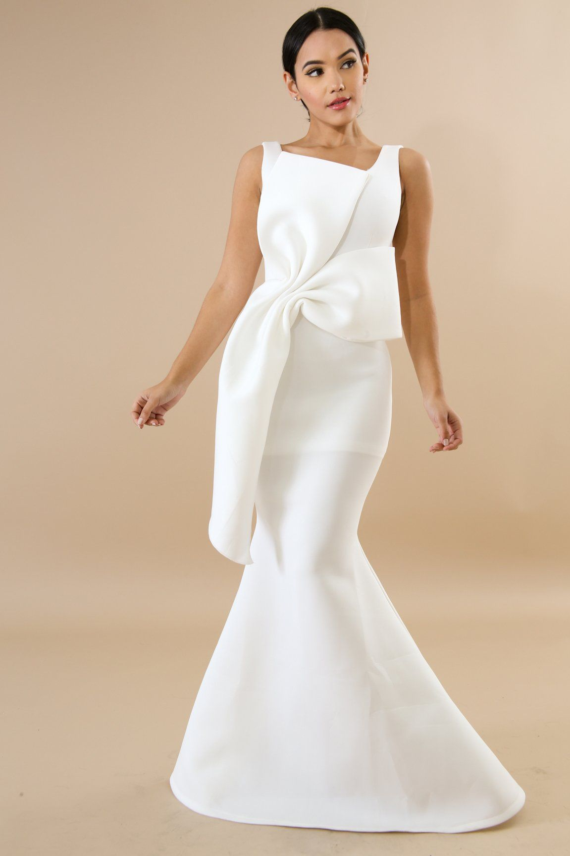 Classic bow white mermaid maxi dress description this