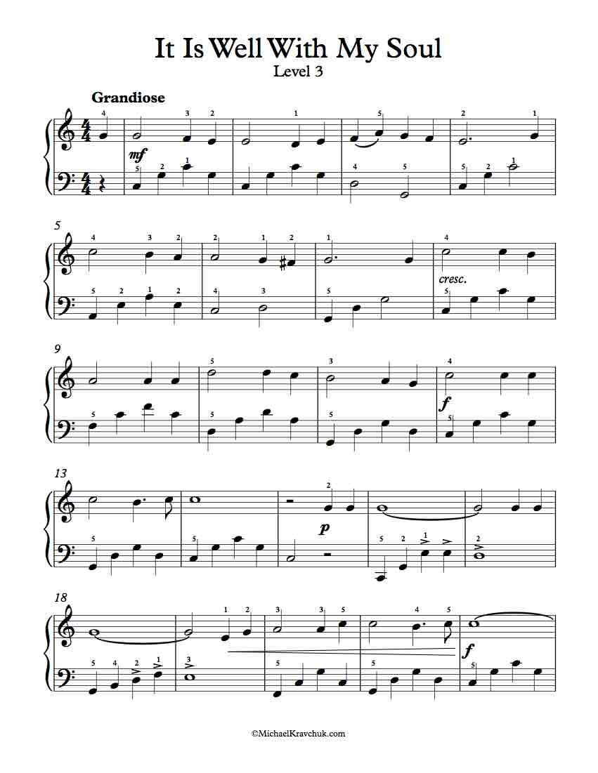 Level 3 Free Piano Arrangement Sheet Music It Is Well With My