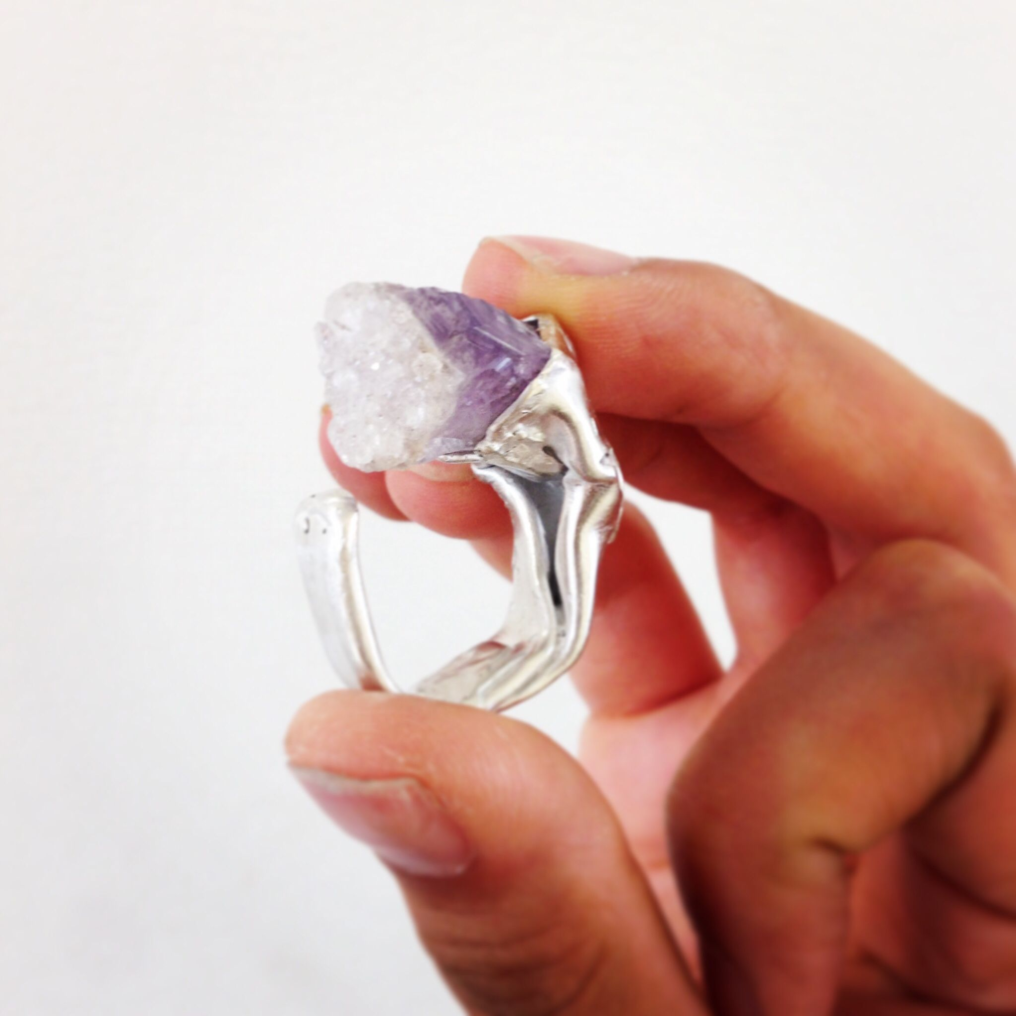 Snow capped amethyst PALA ring